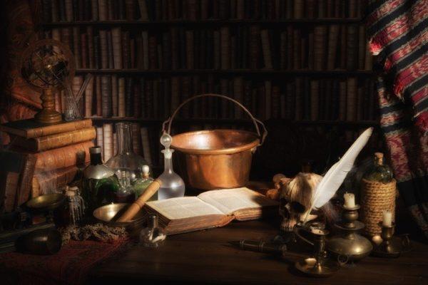 Alquimia caldero bronce