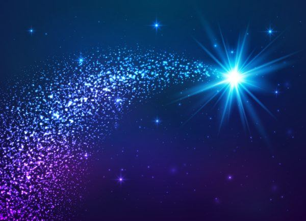 Blue shining star with dust tail