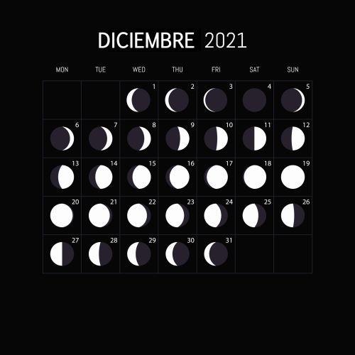 Calendario lunar Diciembre 2021