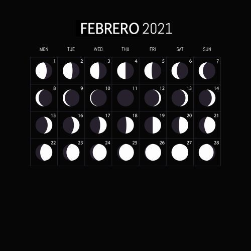 Calendario lunar Febrero 2021