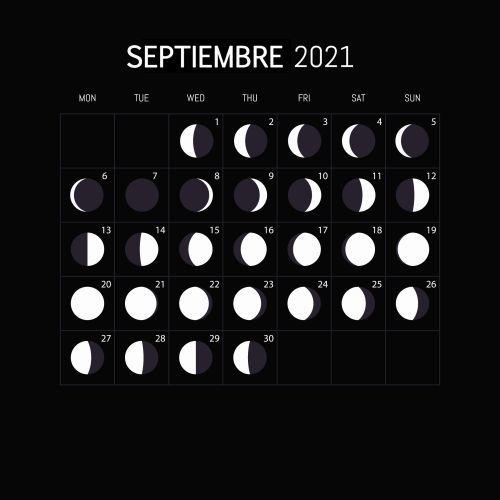 Calendario lunar Septiembre 2021