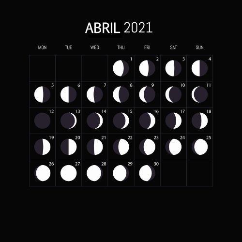 Calendario lunar abril 2021