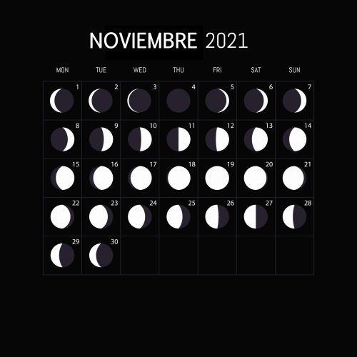 Calendario lunar Noviembre 2021