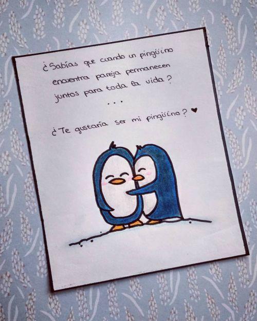 Tarjeta de amor de pingüinos