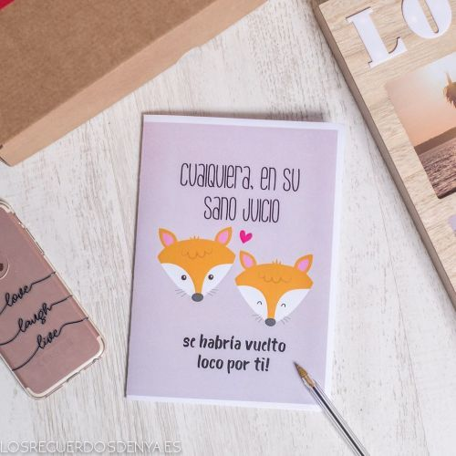 Tarjeta de amor de zorros