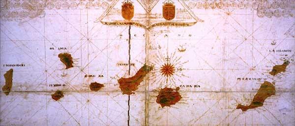 Foto archivo mapa de la época donde figuran 8 islas en lugar de 7