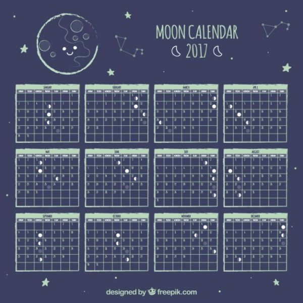 Calendario lunar enero 2018 for Almanaque lunar 2017