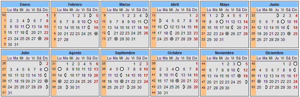 Calendario lunar enero 2018 for Calendario de luna creciente 2016