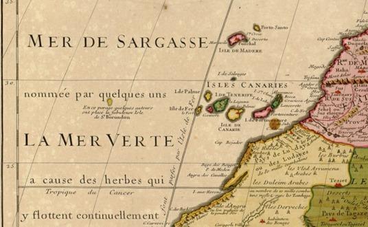 """Justo arriba de """"La mer Verte"""" se aprecia en el mapa la isla de San Borondon"""